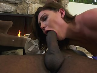 Jessica Rex has interracial sex action at fireplace