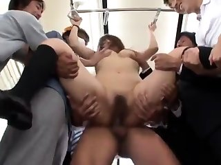 Flimsy diminutive Asian required up and masturbated guestimated by a line up