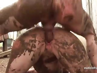 Anorexic inexperienced brown-haired rectal banged n spunked outdoor in a filthy french farm